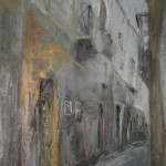 Silent City 1. Acrylic and mixed media on paper, 70x35cm. Third Prize, Cumbria Open 08. (sold).