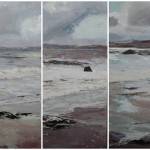 Triptych, Polkerris beach. Acrylic and mixed media on canvas. Panels 100cm x 40 cm each.(sold).
