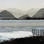 Derwent Water.Monoprint and collage. Varied edition of 6.  20 cm x 20 cm. 2011. ( 6 sold ).