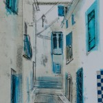 Streets of paziols 1. Monoprint. Varied edition of 6. 38cm x 20cm. 2012.