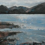 Derwent Water. Acrylic and mixed media. 50cm x 50 cm. 2011. (sold).