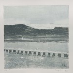 Seagulls over Estuary.  Linoprint /  Monoprint. Varied edition of 10. 2011. ( 3 sold).