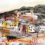Duilhac village. Collagraph, monoprint and mixed media. 31cm x 31cm. Varied edition of 5. 2013. ( 1 sold ).