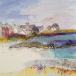Iona Port 1. Acrylic and mixed media. 23cm x 23cm. (Sold).