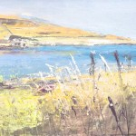Brighouse Bay. Acrylic and mixed media on panel.15cm x 40cm. (sold).