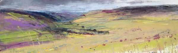 Down the valley. Acrylic and mixed media. 13cm x 41cm