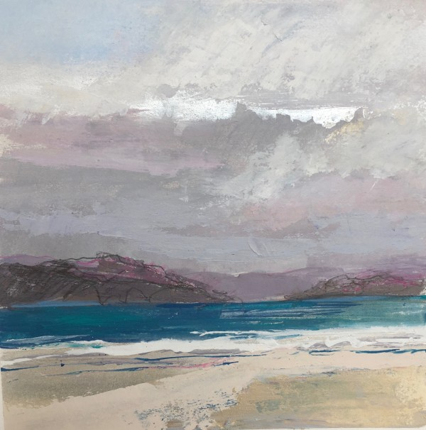 Iona, Between The Rain 3. Acrylic , mixed media, rain water & Sea water. 22cm x 22cm. SOLD.