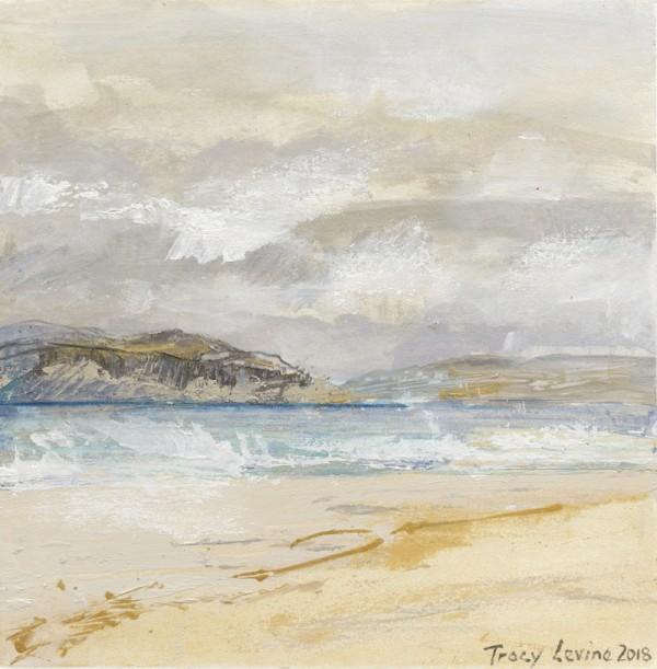 Iona, Between The Rain 2. Acrylic , mixed media, rain water & Sea water. 22cm x 22cm.