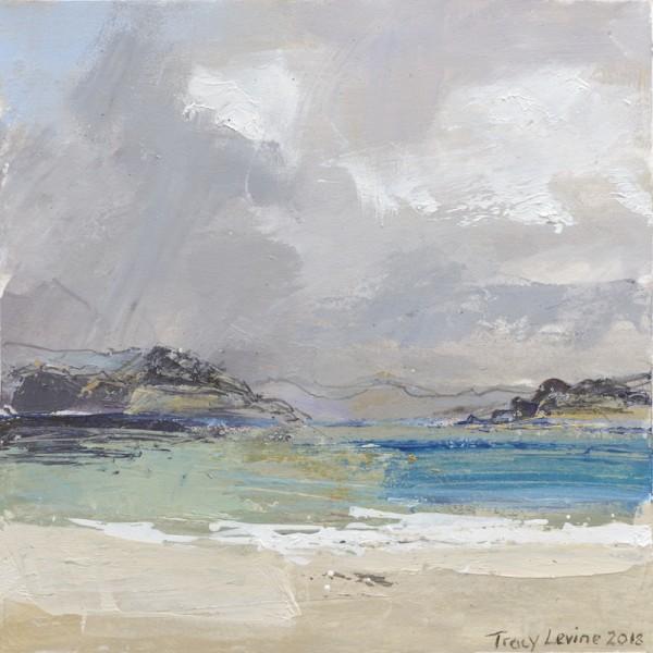 Iona, Between The Rain 3. Acrylic , mixed media, rain water & Sea water. 22cm x 22cm.