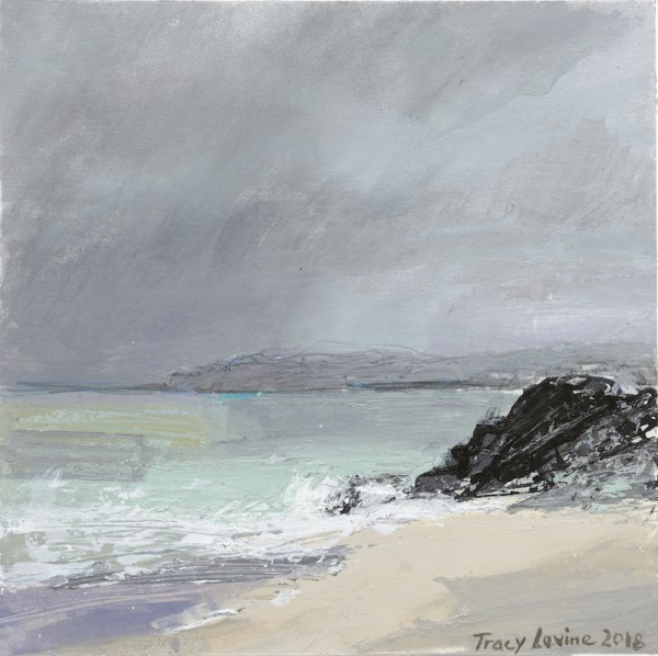 Iona, Between The Rain 4. Acrylic , mixed media, rain water & Sea water. 22cm x 22cm.
