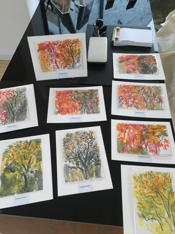 A selection of postcard size mini paintings of The Orange Tree of Molineta