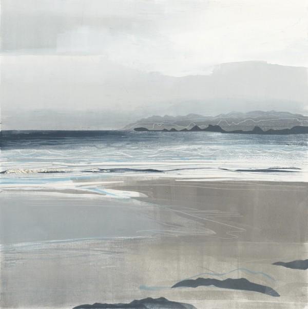 Silver Lines, Iona. Monoprint. 42cm x 42cm