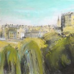 Edinburgh Skyline. Acrylic and mixed media. 50cm x 50cm.