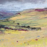 Down the Valley. Acrylic and mixed media. 13cm x 41cm. Sold.