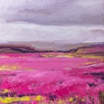 Heather and Moors 1.  Acrylic and mixed media on linen. 100cm x 100cm. (sold).