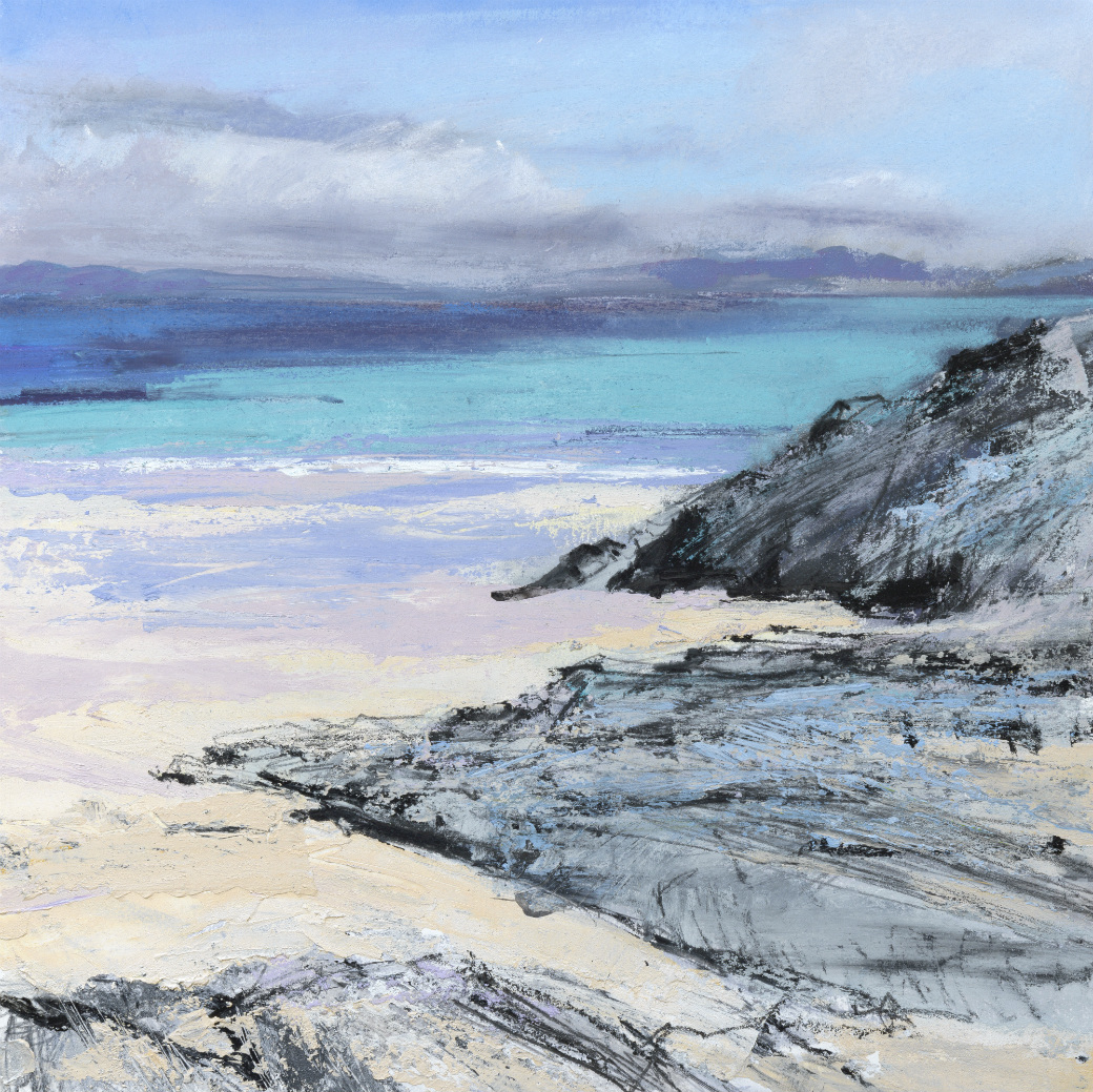 Iona Beach 1. Acrylic and mixed media.40cm x 40cm. (Sold).