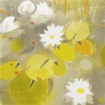 Water Lilies Monoprint 2. Varied Edition of 4. (1 sold).