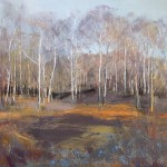 Silver Birch, On A Winters Day. Acrylic and mixed media on linen. 90cm x 90cm. Sold.