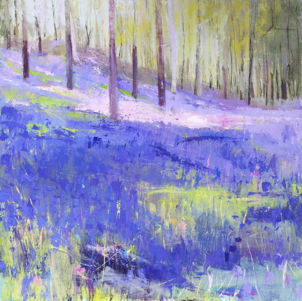 Bluebells. Acrylic and mixed media. 90cm x 90cm. (Sold).
