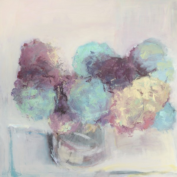 Hydrangeas 1. Acrylic and mixed media on linen. 90cm x90cm. Sold.