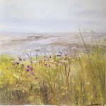 Cove, Yellow Weeds, Silverdale.  Acrylic and mixed media. 42cm x 42cm. Sold.