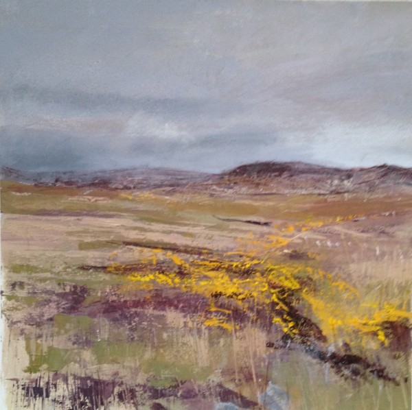 Gorse, Mull Landscape. Acrylic and mixed media. 32cm x 32cm. 2017. Sold.