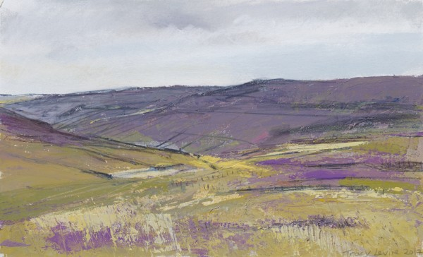 Swaledale, Above Reeth. Acrylic and mixed media. 32cm x 22cm.