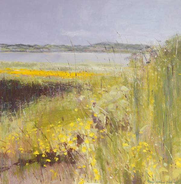 Buttercups on the Bay. Acrylic and mixed media. 62cm x 62cm. 2017.