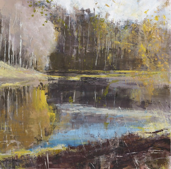 Lanty's Tarn. Acrylic and mixed media and 24ct gold leaf. 50cm x 50cm.