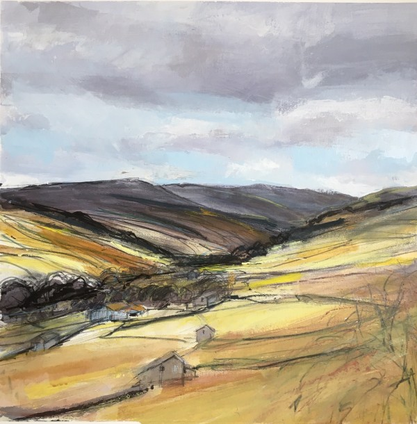 A Barn in every Field 3, Swaledale. Acrylic and mixed media. 42cm x 42cm.